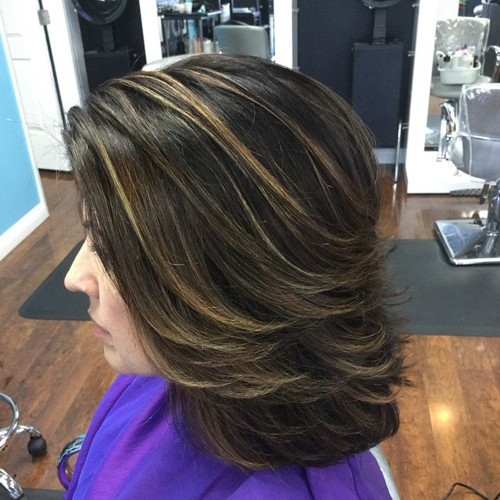 formal shag hairstyle with highlights