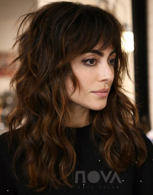 Long Brunette Shag With Bangs
