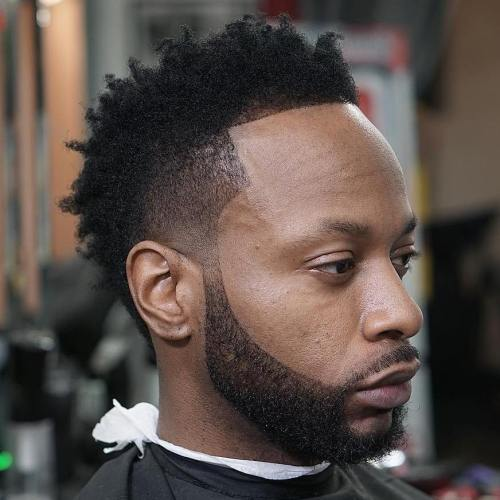 Temple Fade Mohawk With Facial Hairstyle