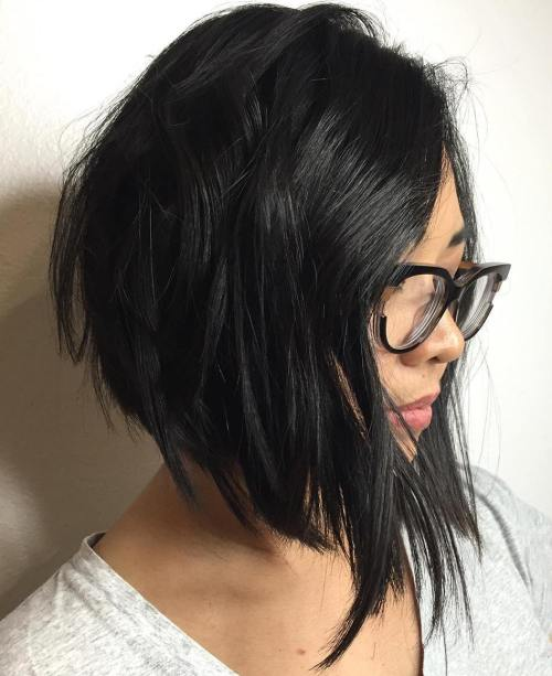 60 most beneficial haircuts for thick hair of any length black angled choppy bob urmus Gallery
