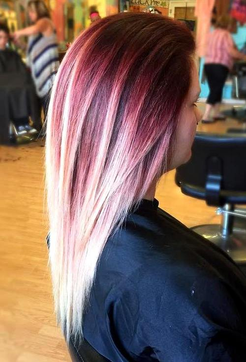 dark brown hair with red and blonde balayage