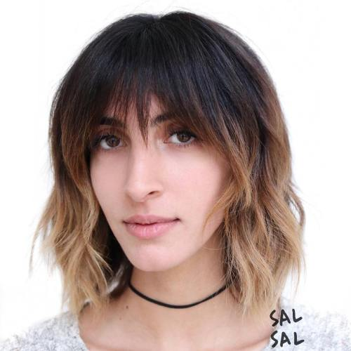 Medium Brown Ombre Shag With Bangs