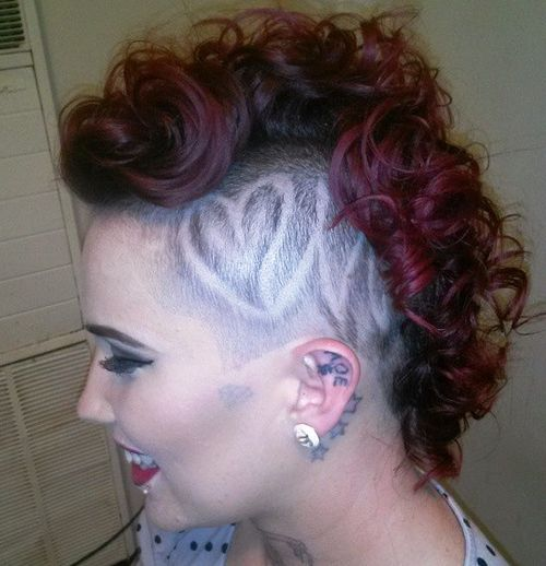 curly mohawk with side shaved design