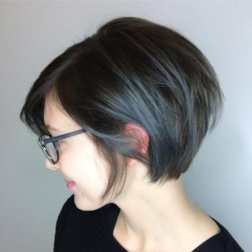 Dark Brown Bob With Blue Gray Balayage