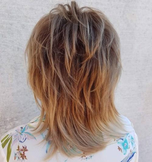 Medium Bronde Shag For Fine Hair