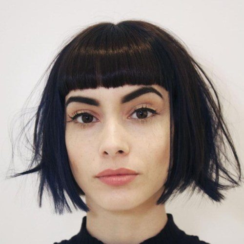 Black Shaggy Bob With Bangs