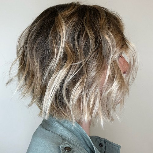 Bronde Choppy Bob With Highlighted Ends