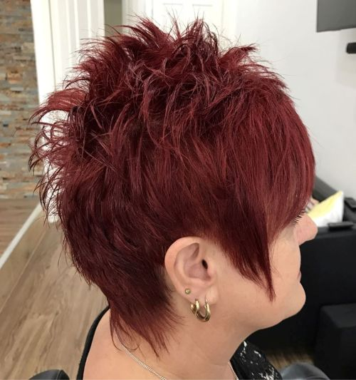 Over Burgundy Chopped Pixie
