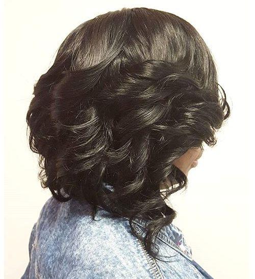 black angled curled bob