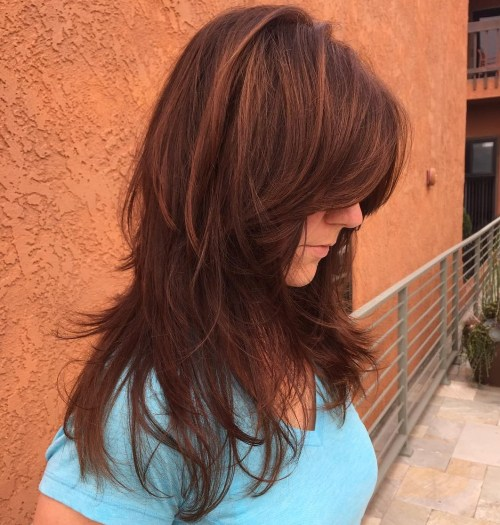 Layered Brown Hair With Copper Balayage