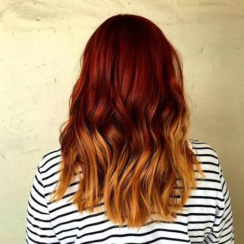 25 thrilling ideas for red ombre hair. Black Bedroom Furniture Sets. Home Design Ideas