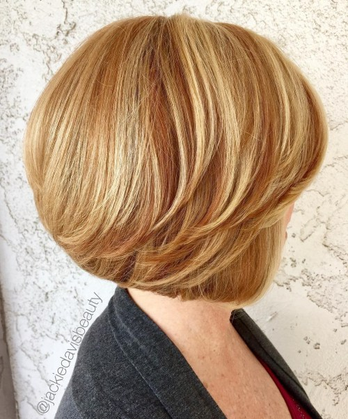 Feathered Golden Blonde Bob With Bangs