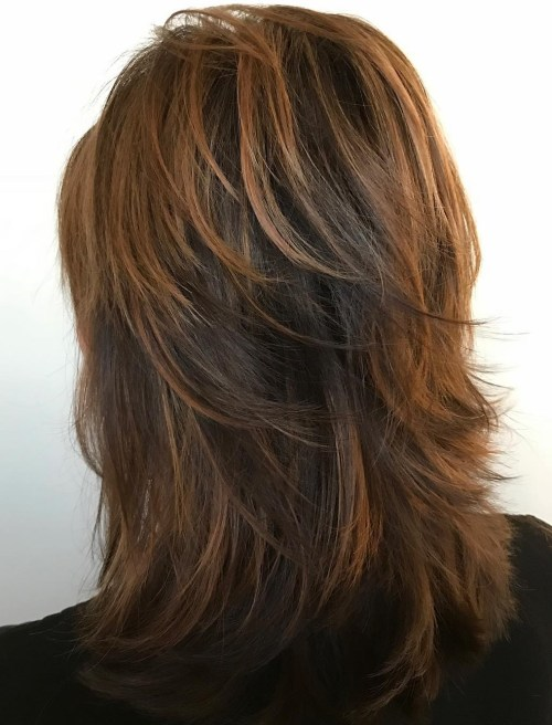 Medium Layered Copper Brown Hairstyle