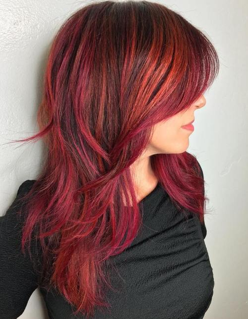 Medium Layered Red Balayage Hairstyle