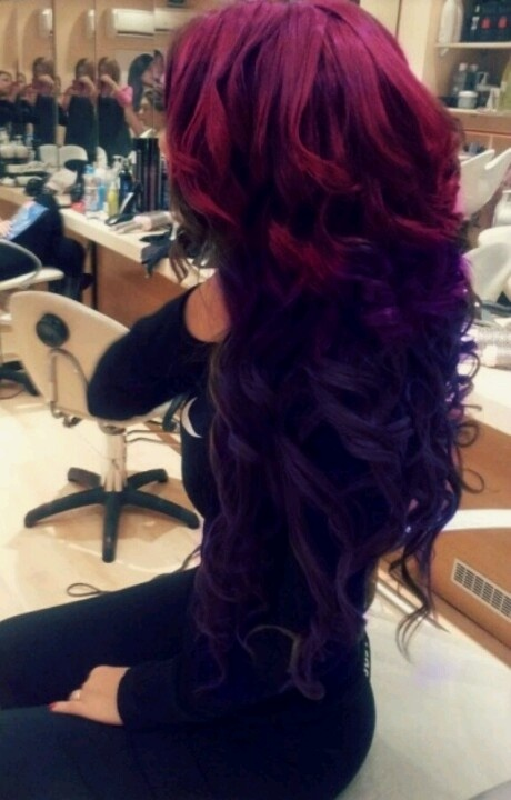 reverse ombre maroon to purple black