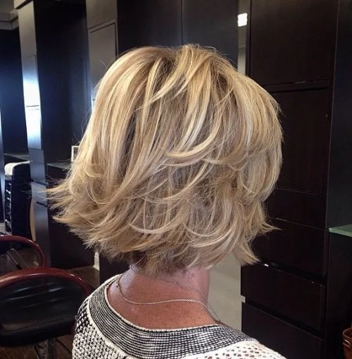 Layered Bronde Bob Over 40