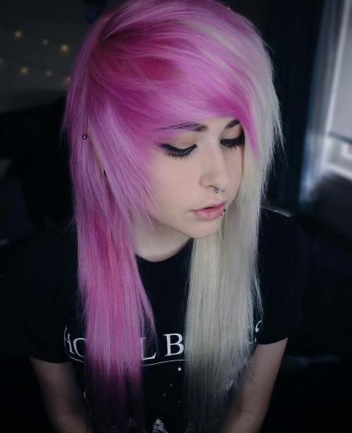 Half Blonde Half Pink Emo Hairstyle