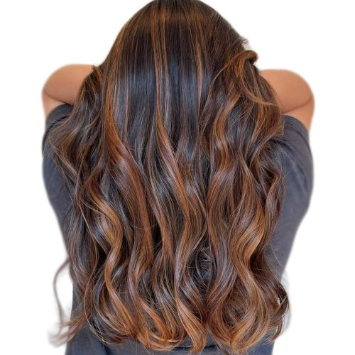 Long Dark Hair with Warm Copper Highlights