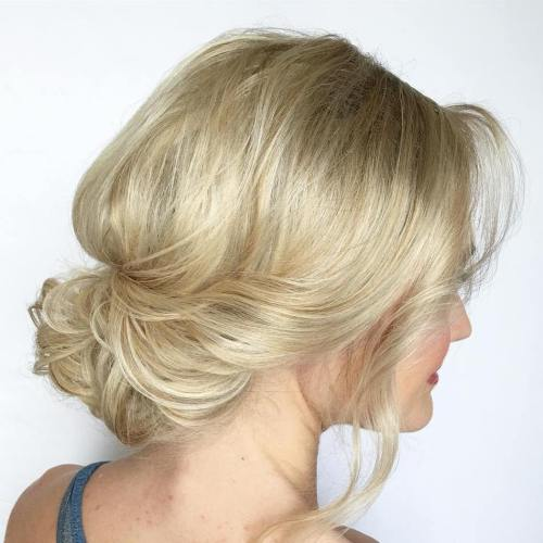 60 easy updo hairstyles for medium length hair in 2017 messy low updo for shorter hair pmusecretfo Choice Image