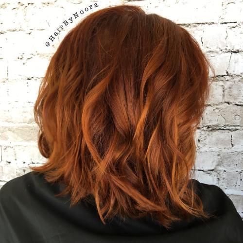 Wavy Copper Bob Hairstyle