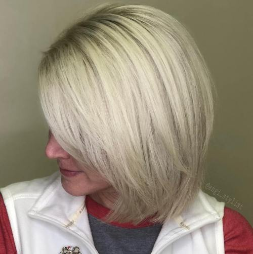Ash Blonde Layered Bob