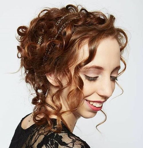Messy Curly Elegant Updo Hairstyle