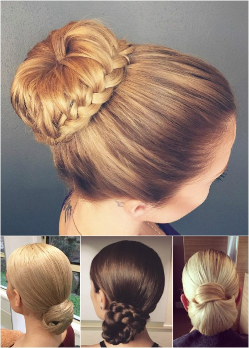 sleek formal bun and chignon updos