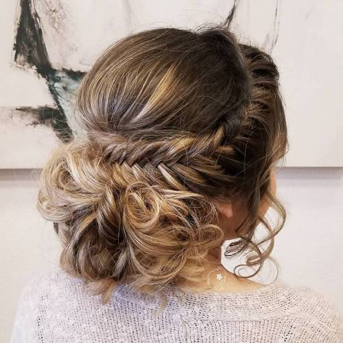 Low Curly Bun With A Crown Braid