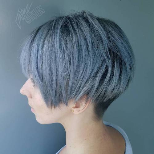 Short Layered Pastel Blue Bob