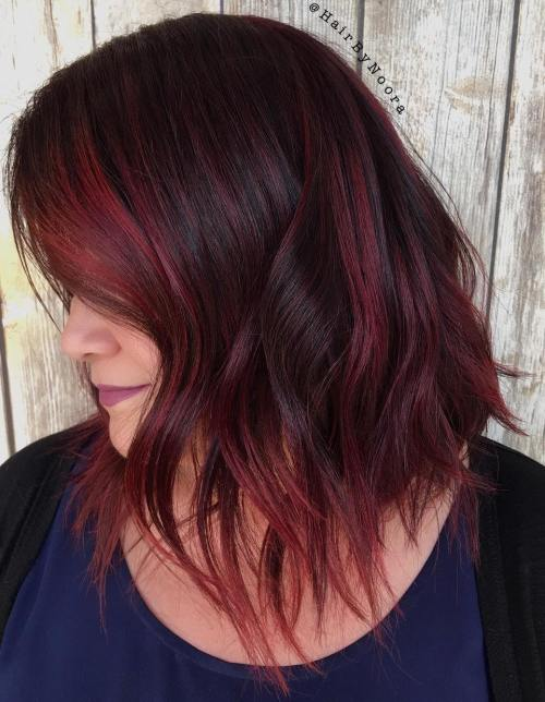 Choppy Black Bob With Burgundy Highlights