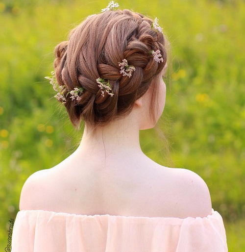 Cool Crown Braid Updo For Teens