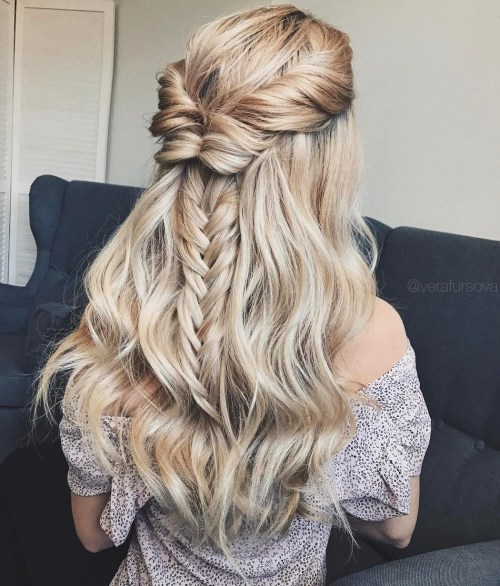Twisted Crown And Braid Half Updo