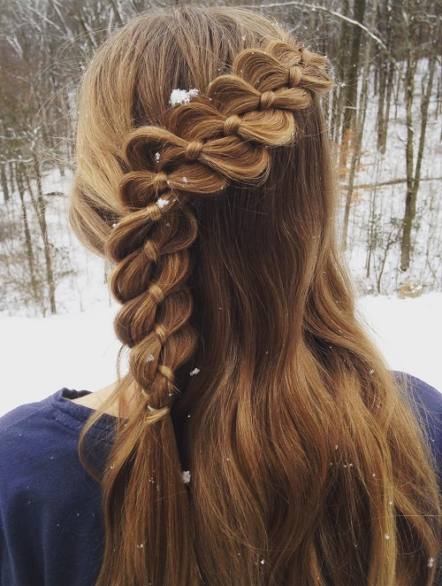 Four-Strand Braid With A Ribbon For Girls