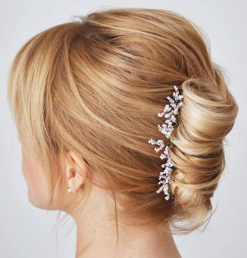 French Roll With Bangs For Shorter Hair