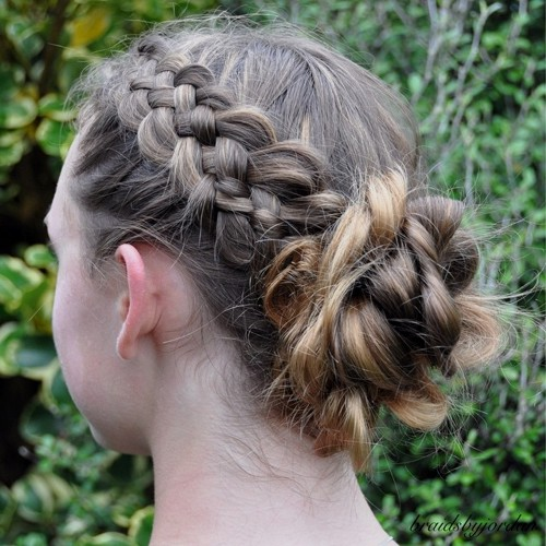 Messy Braid And Bun Updo For Girls