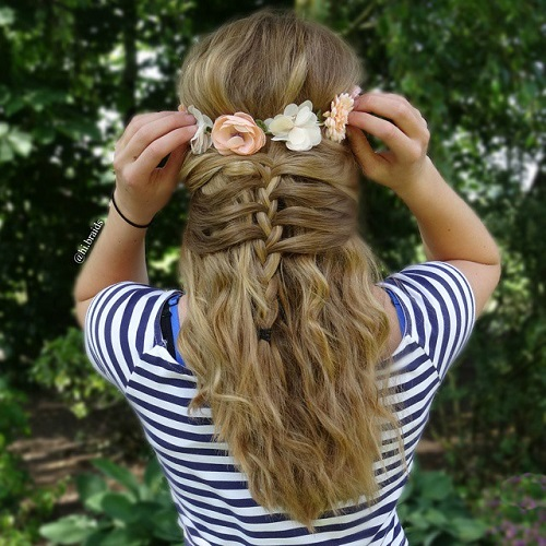 Cute Braided Half Updo For Teens