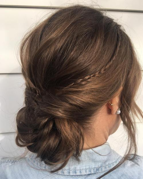 Messy Chignon With A Thin Braid