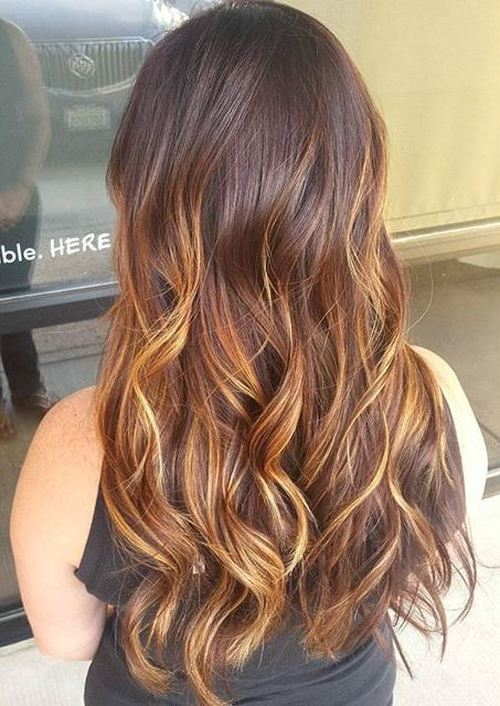Black Hair With Auburn And Blonde Highlights