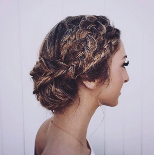braided updo for hair with highlights