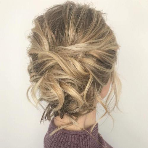 60 easy updo hairstyles for medium length hair in 2018 tousled updo for medium fine hair solutioingenieria Image collections