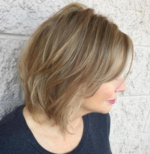 Honey Blonde Cut With Gray Highlights