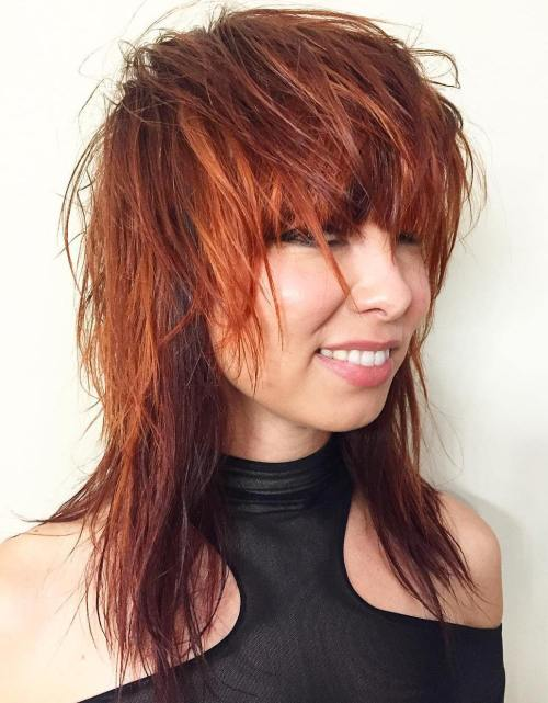 Medium Red Shag Haircut