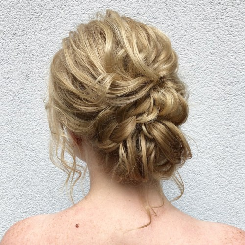 Wavy Chignon Updo With A Braid
