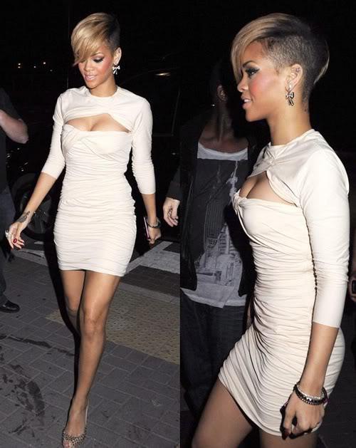 Rihanna short hairstyle with blonde bangs