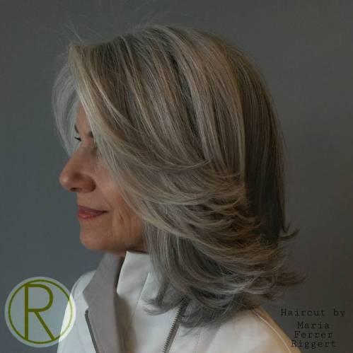 Medium Layered Gray Hairstyle Over 50