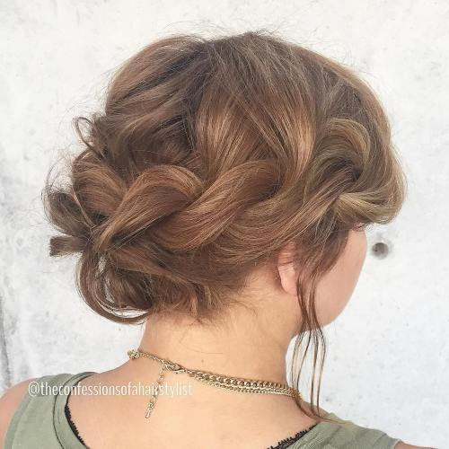Twisted Messy Updo For Shorter Hair