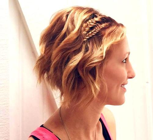 red wavy bob hairstyle with two braids
