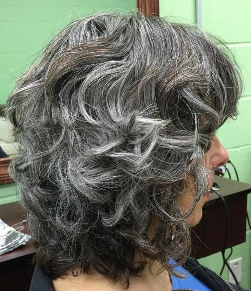 Medium Layered Hairstyle With Gray Highlights