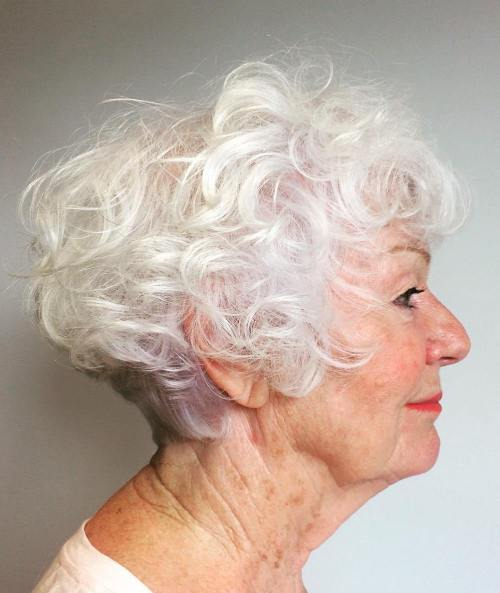 Short Curly Hairstyle For Women Over 60