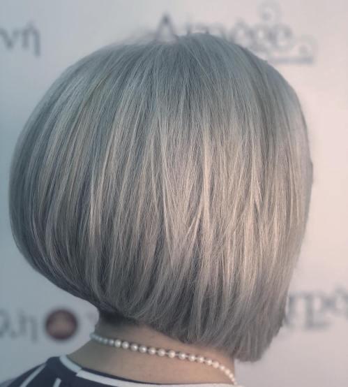 Gray Layered Inverted Bob Hairstyle